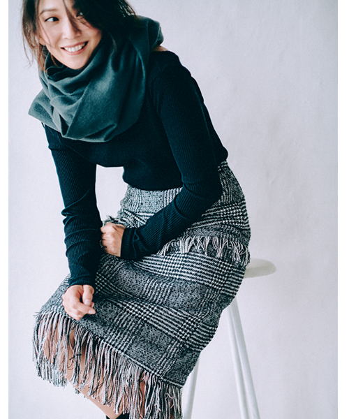 チェックツイードフリンジタイトスカート