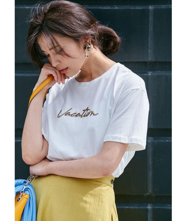 コットン天竺ビーズ刺繍Tシャツ