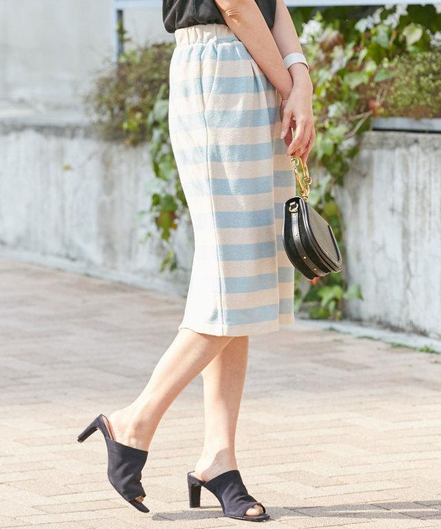 ループ編み先染めボーダータイトスカート