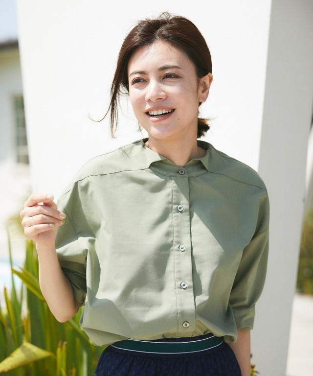デザイン衿オーバーサイズシャツ