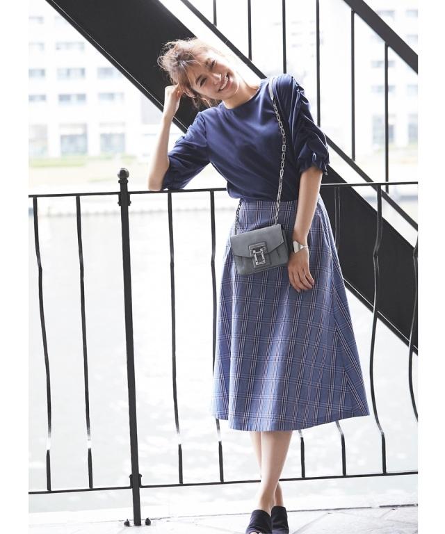 《MAYUさん着用》グレンチェックサーキュラースカート
