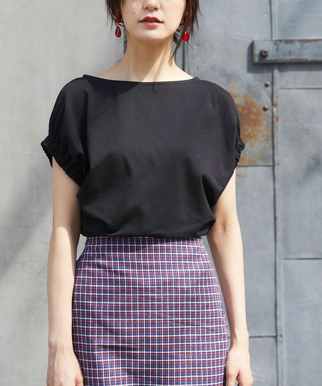 UVカット袖口ゴムギャザーTシャツ
