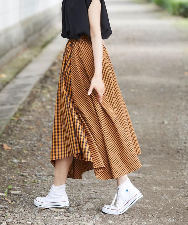 ランダムピッチギンガムヘムラインスカート