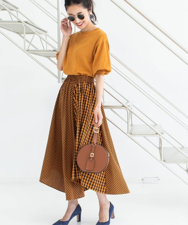 《MAYUさん着用》ランダムピッチギンガムヘムラインスカート