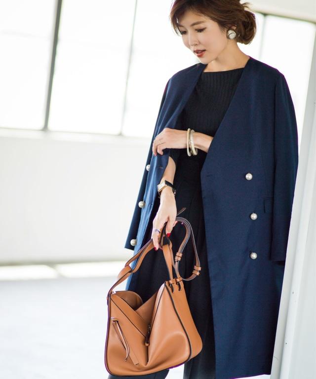 《Noriko & Michiko Collaboration Collection》パールボタンノーカラーロングジャケット