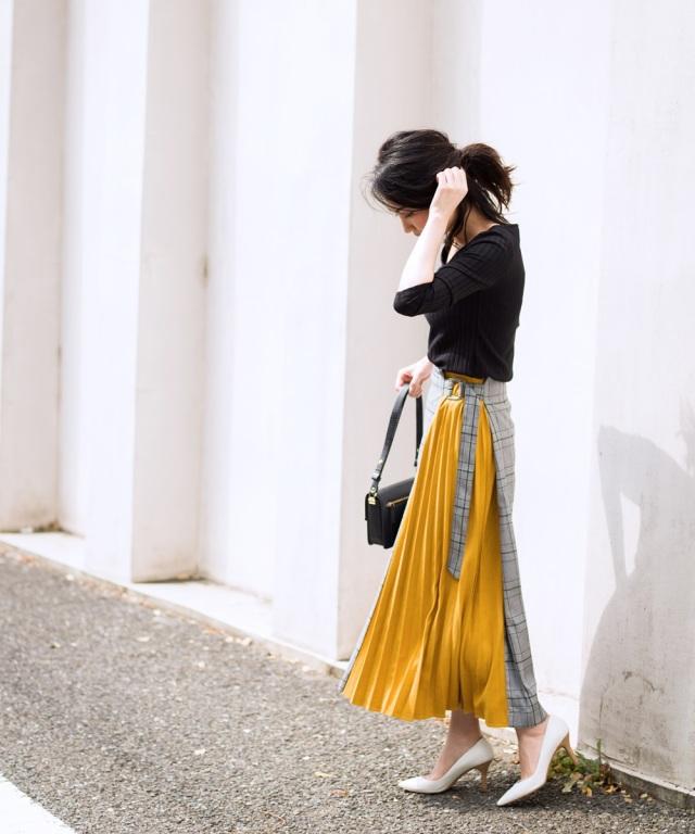 《Noriko & Michiko Collaboration Collection》チェック×スエードプリーツアシメデザインスカート*SALE品につき返品/交換/注文確定後の変更キャンセル不可*