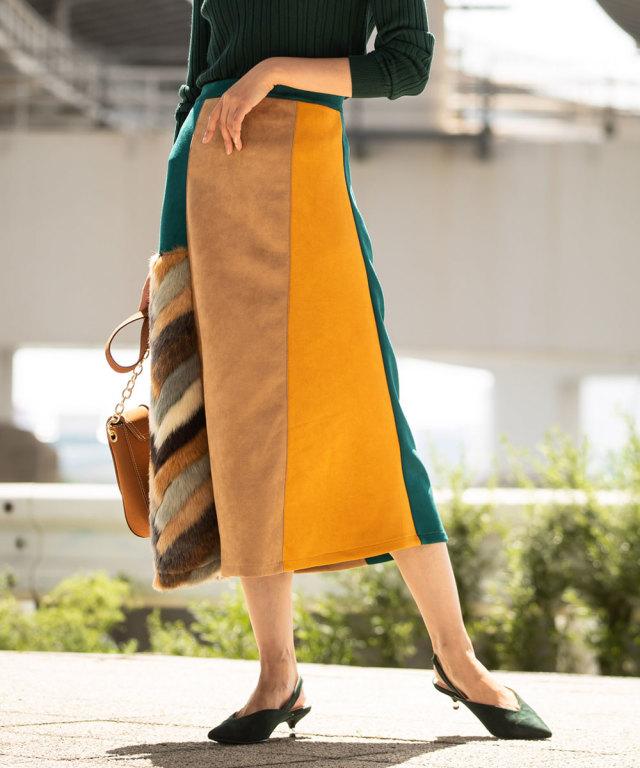 異素材パターン切替スカート