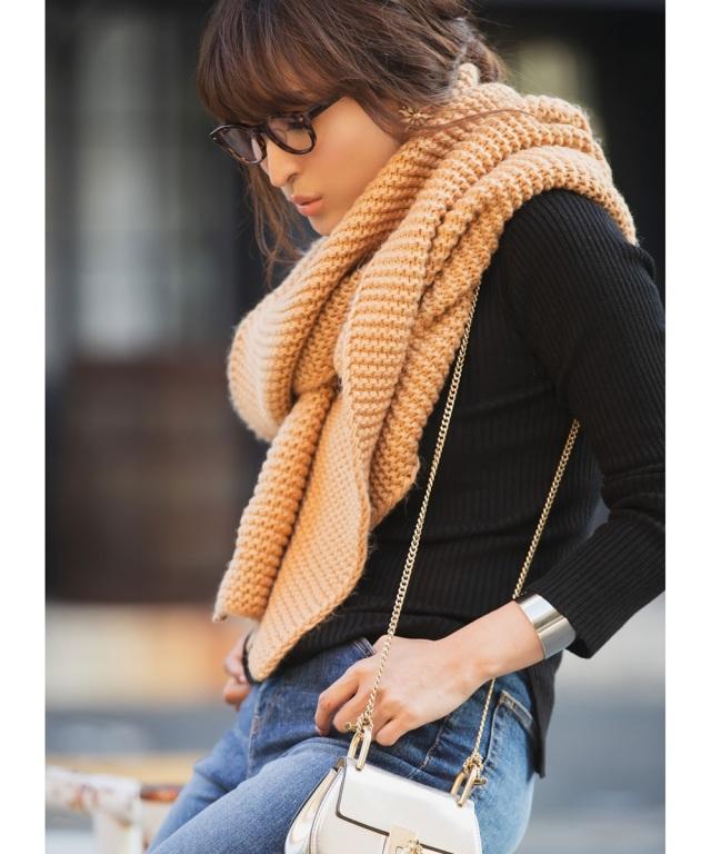 《Aya×Luxe line》手編み風ニットロングストール