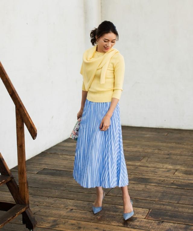 《大日方久美子さん着用》ストライプ柄プリーツスカート