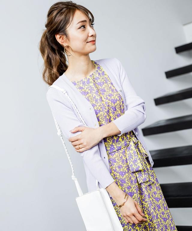 【成瀬愛里さん着用】シャリ感Vネックリブカーディガン