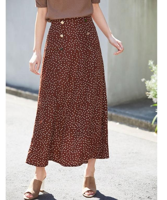 ドット柄セミフレアナロースカート