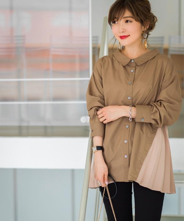 7月27日午前0:00再販!《Noriko&Michiko Collaboration》取り外せるサイドプリーツシャツ*SALE品につき返品/交換/注文確定後の変更キャンセル不可*