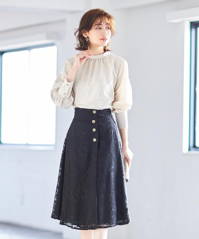 【ヒルナンデス紹介アイテム】総レースラップフレアスカート