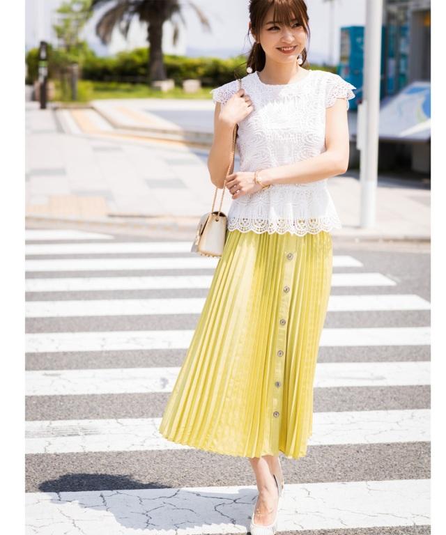 《@n.airi_taitoさん着用》リネンライクフロントボタンプリーツスカート