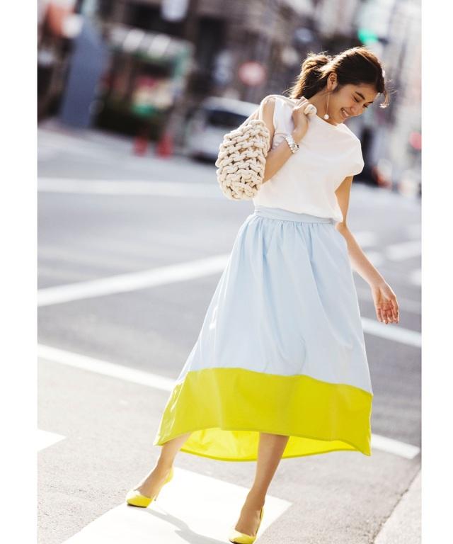 6月14日午前0:00再販!《#HAMAGUCHISISTERS》バックテール配色スカート≪ 店舗販売日は6月18日からとなります ≫