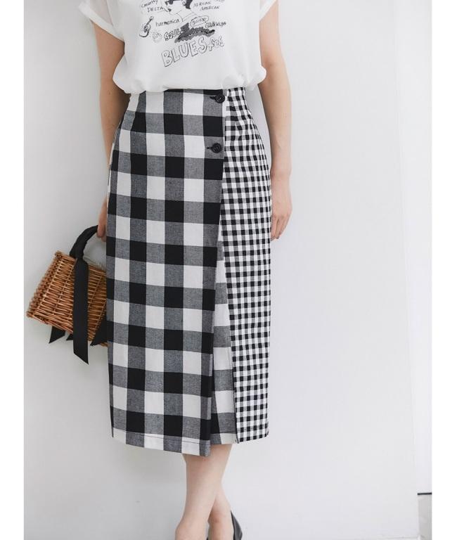 7月16日午前0:00再販!リネン混ブロックチェックラップタイトスカート