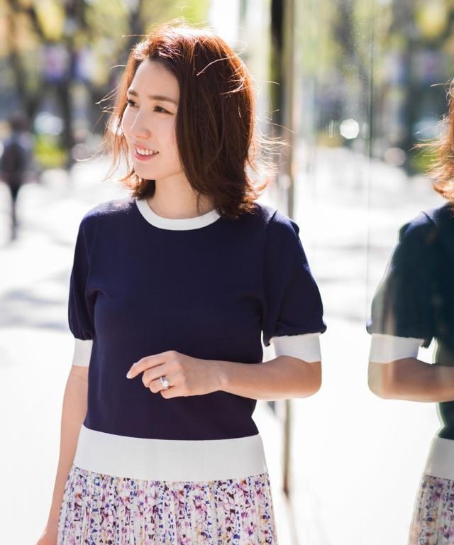 《高田麻紀子さんコラボ》シャリ感配色ニットプルオーバー