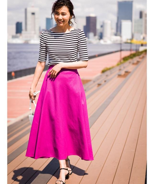 《品番拡大》【@kazumint20コラボ】リネン混フレアロングスカート*SALE品につき返品/交換/注文確定後の変更キャンセル不可*