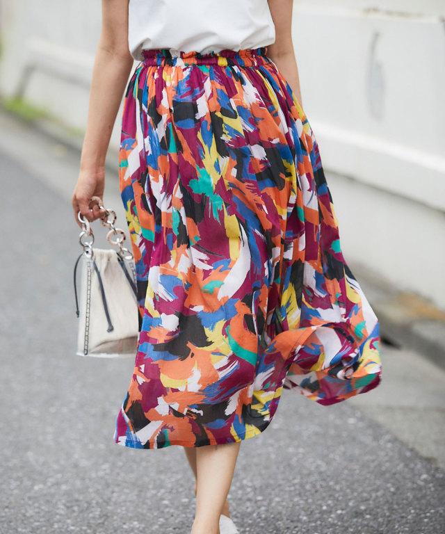 ペイント柄コットンボイルスカート