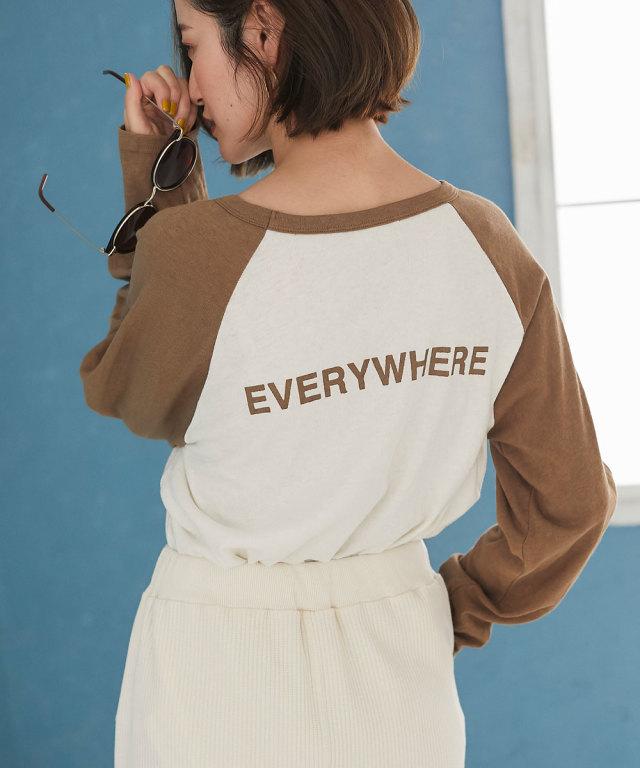 バックロゴプリント配色ロングTシャツ*SALE品につき返品/交換/注文確定後の変更キャンセル不可*