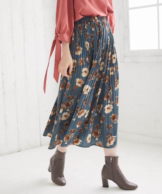 ヴィンテージサテンフラワープリーツスカート