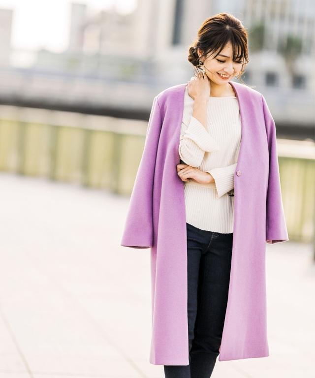 《@n.airi_taitoさん着用》ウール混スムースタッチノーカラーコート