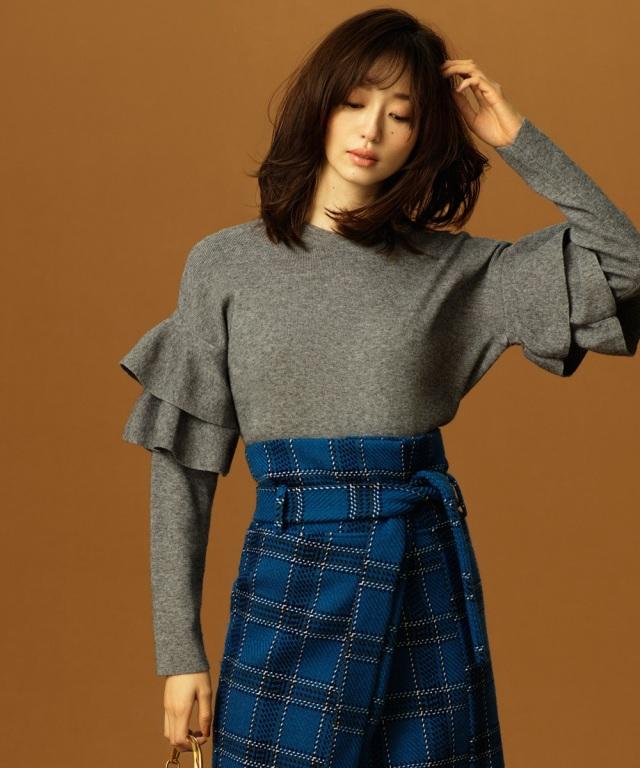 【松島花さん着用】シアバター加工もっちり袖フリルニット