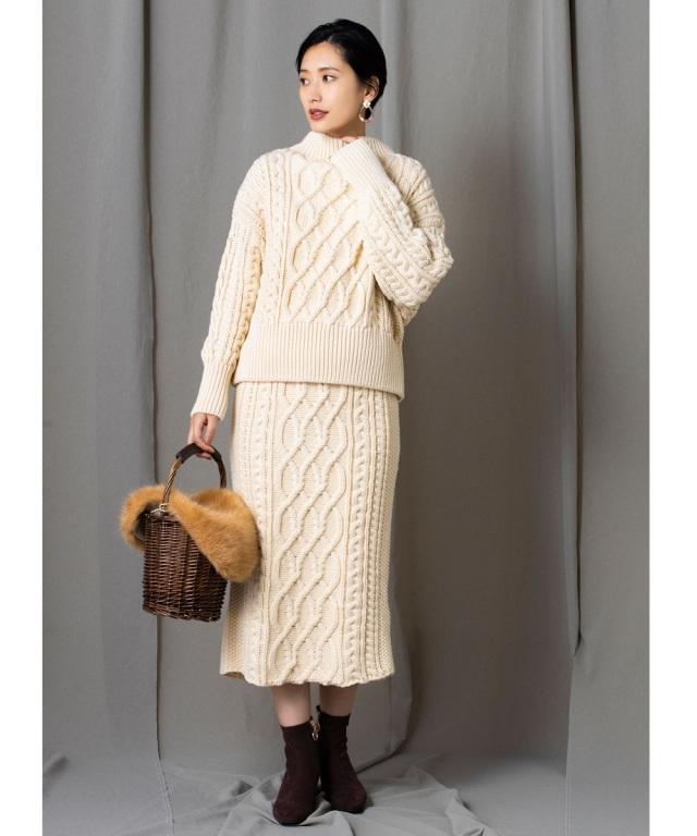 【yokoさんコラボ】ケーブルニットタイトスカート