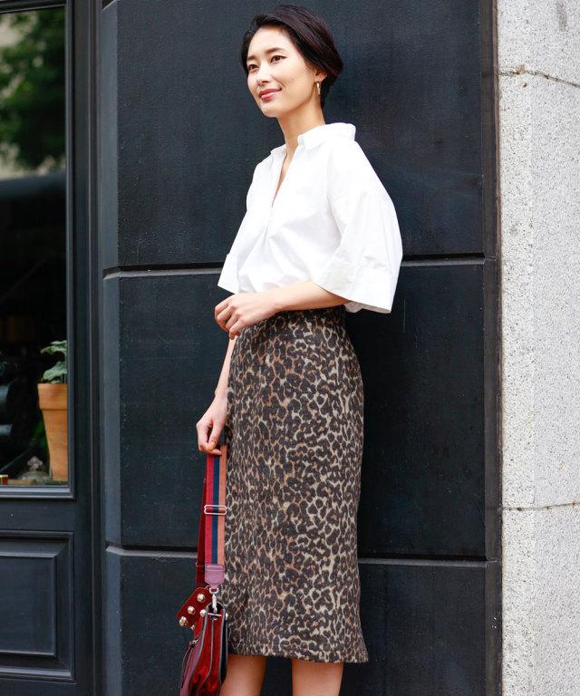微シャギーレオパード柄タイトスカート