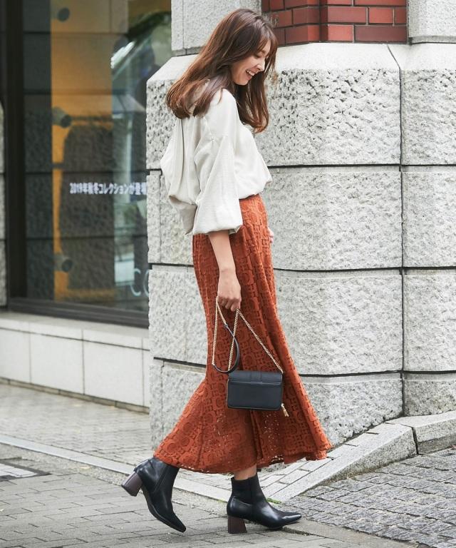 レトロ柄レースマキシマーメイドスカート
