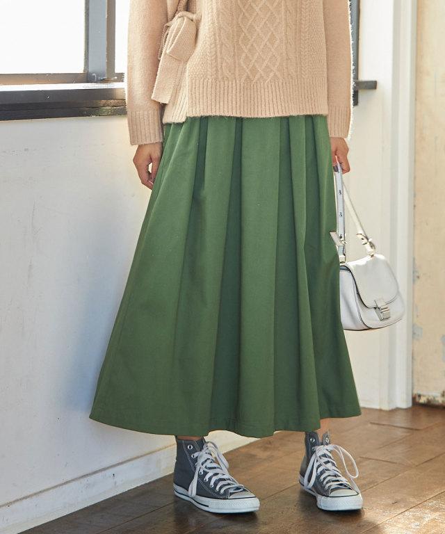 微起毛ツイルタックロングスカート*SALE品につき返品/交換/注文確定後の変更キャンセル不可*