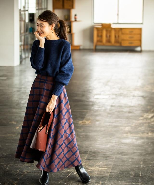 12月5日午前0:00再販!【金子麻貴さん着用】ウインドウペンチェックロングスカート