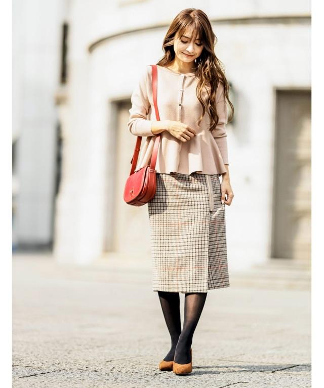 《成瀬愛里さん着用》起毛チェックラップタイトスカート