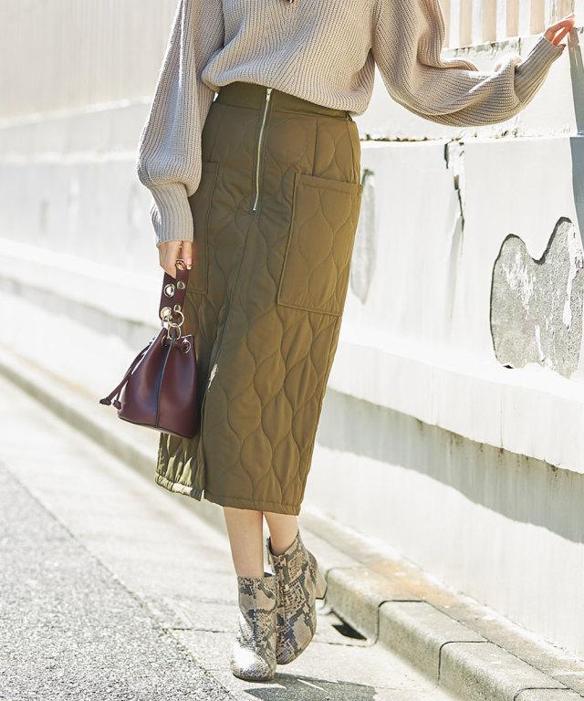 キルティングジップタイトスカート