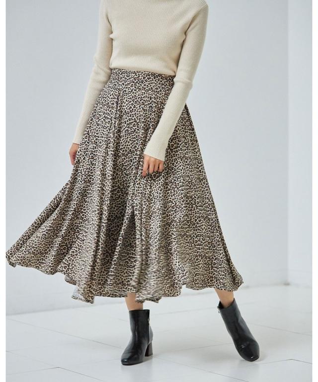 レオパード柄切替スカート*SALE品につき返品/交換/注文確定後の変更キャンセル不可*