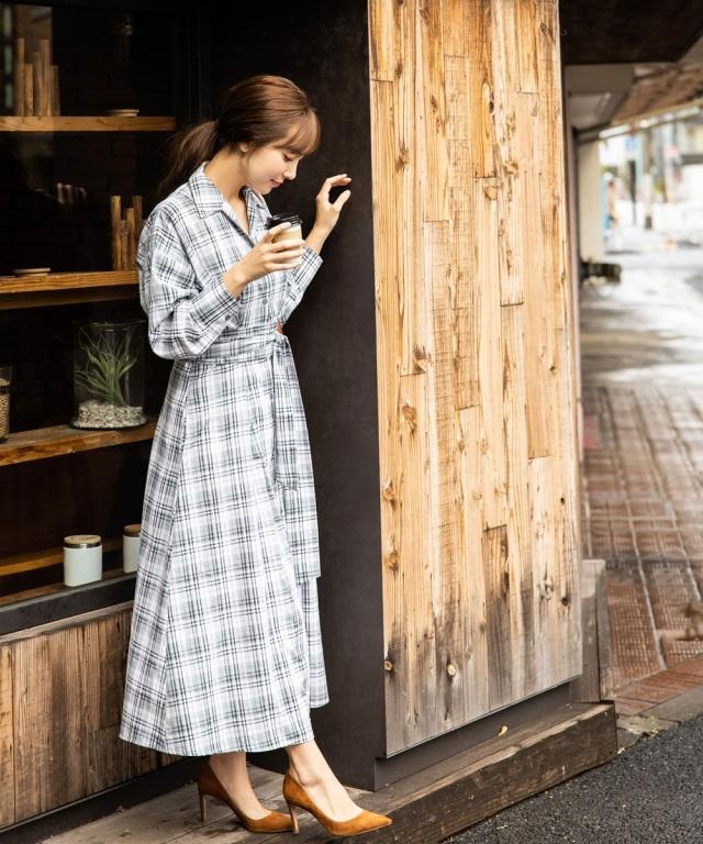 《岡部あゆみさん着用》マドラスチェックシャツマキシワンピース
