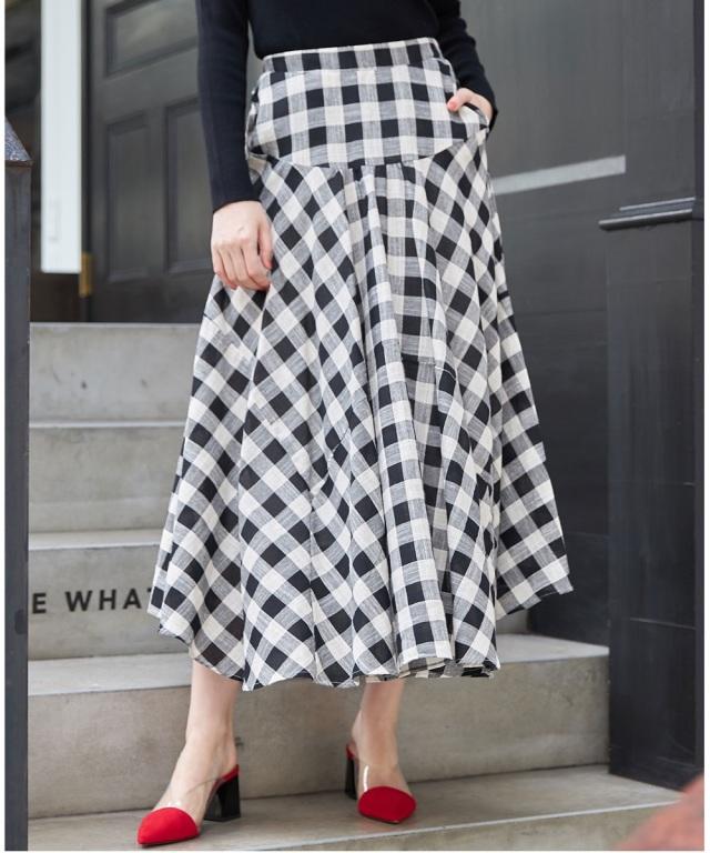 チェック切替デザインスカート*SALE品につき返品/交換/注文確定後の変更キャンセル不可*
