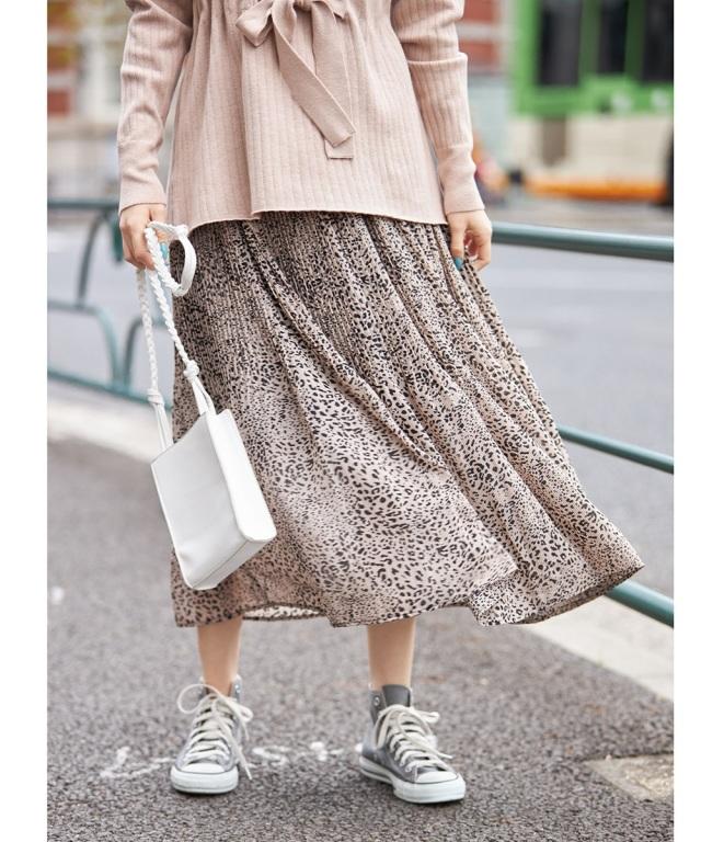ストライプ×レオパ柄オフプリーツスカート