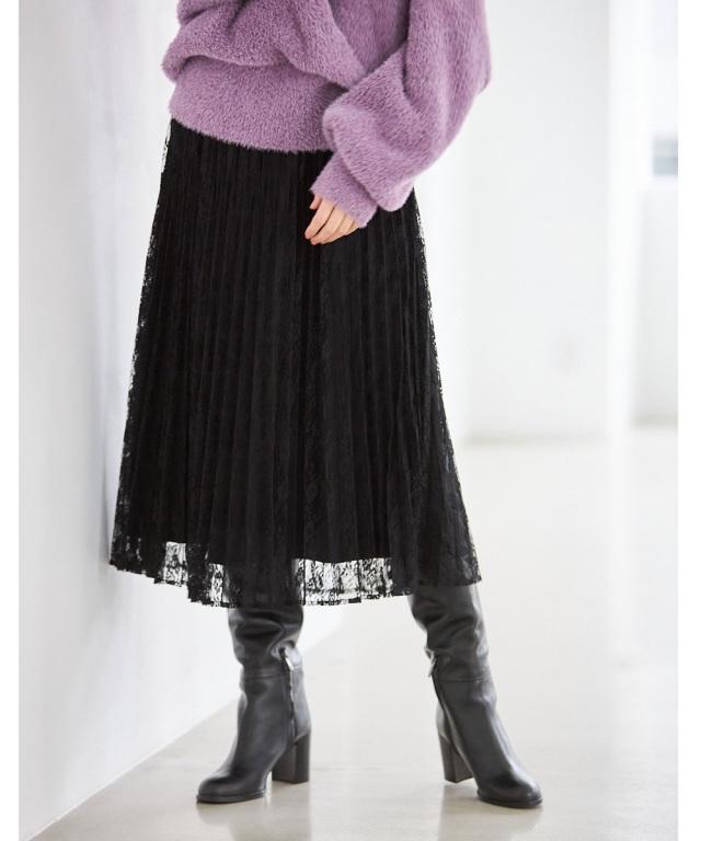 小花レースプリーツスカート