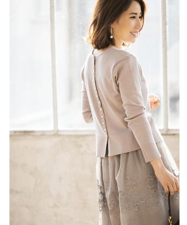 《高田麻紀子さん着用》花粉リリース前後2WAYパールカーディガン