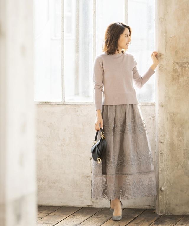 《高田麻紀子さんコラボ》刺繍レースマキシスカート