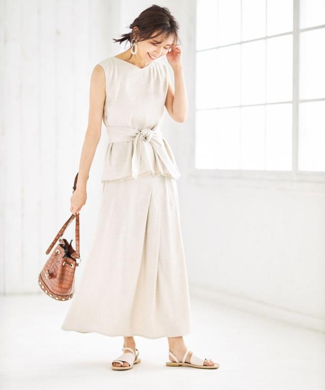 【Luxe line】リネン混タックデザインスカート