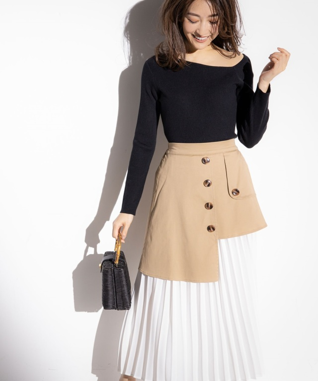 《金子麻貴さん着用》アシンメトリートレンチ風シフォンプリーツスカート