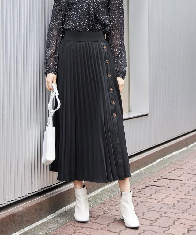 【ヒルナンデス紹介アイテム】1月25日午前0:00再販!レザーボタンプリーツスカート