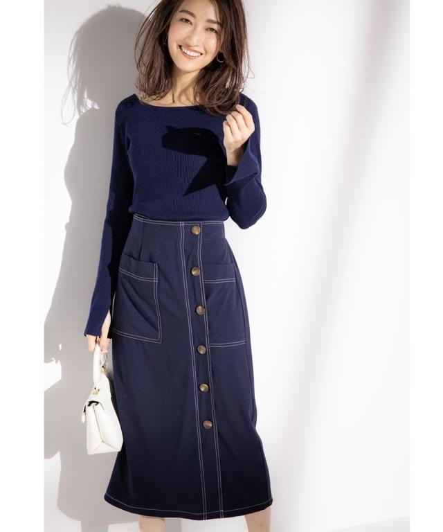 《金子麻貴さん着用》ステッチデザインラップタイトスカート