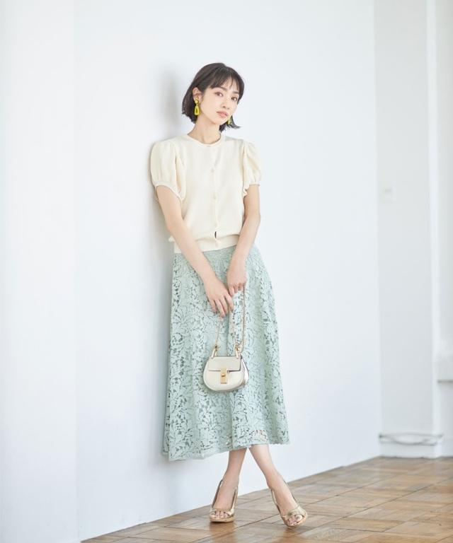 《lace Collection》 ケミカルレースフレアスカート*SALE品につき返品/交換/注文確定後の変更キャンセル不可*