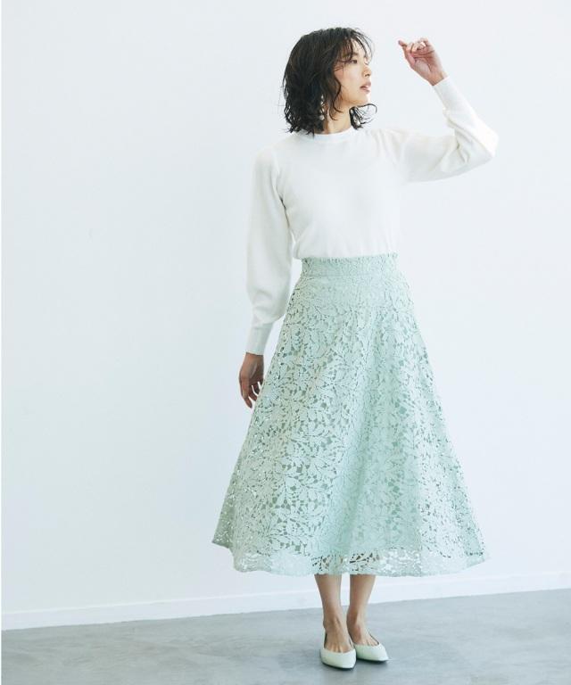 《lace Collection》 ケミカルレースフレアスカート