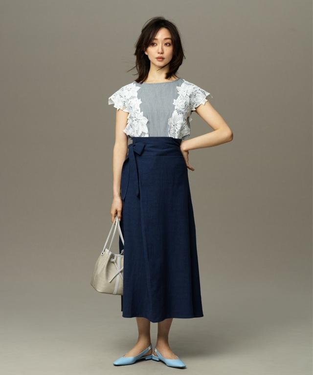 【松島花さん着用】ハイウエストベルテッドリネンマキシスカート