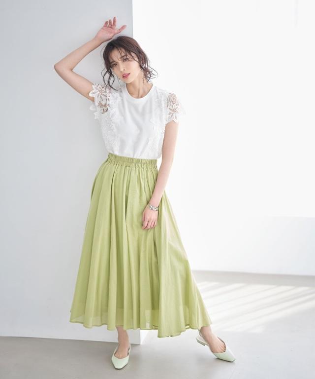 【成瀬愛里さん着用】《early summer》ギャザーフレアコットンスカート《店舗販売は4/7~となります》