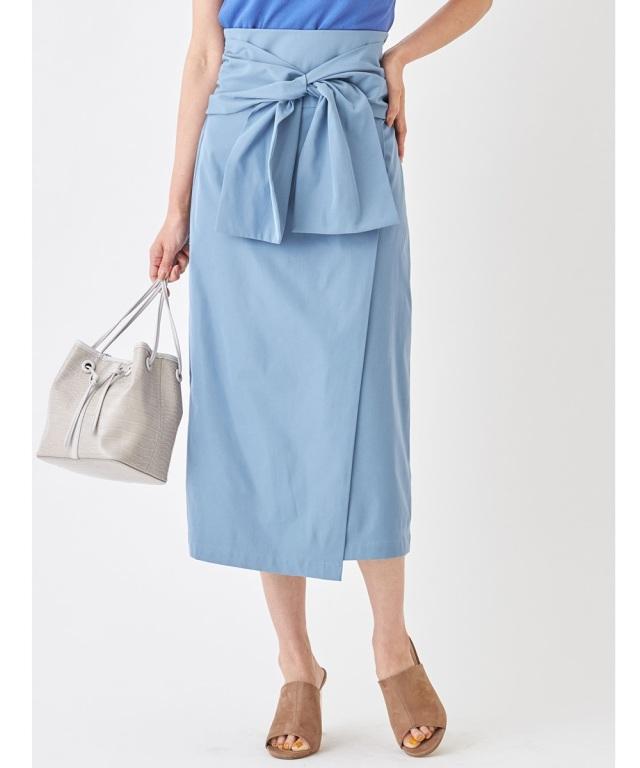フロントリボンラップタイトスカート*SALE品につき返品/交換/注文確定後の変更キャンセル不可*
